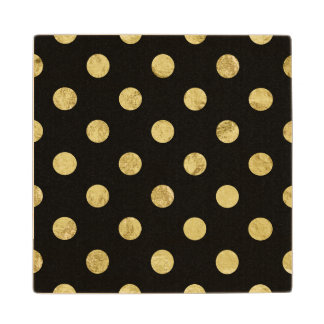 Elegant Gold Foil Polka Dot Pattern - Gold & Black Wood Coaster