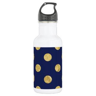 Elegant Gold Foil Polka Dot Pattern - Gold & Blue 532 Ml Water Bottle