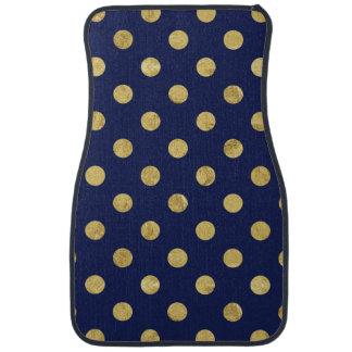 Elegant Gold Foil Polka Dot Pattern - Gold & Blue Auto Mat