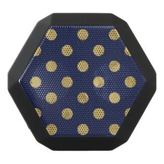 Elegant Gold Foil Polka Dot Pattern - Gold & Blue Black Bluetooth Speaker