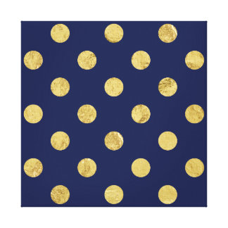 Elegant Gold Foil Polka Dot Pattern - Gold & Blue Canvas Print