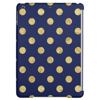 Elegant Gold Foil Polka Dot Pattern - Gold & Blue Case For iPad Air