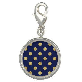 Elegant Gold Foil Polka Dot Pattern - Gold & Blue Charms