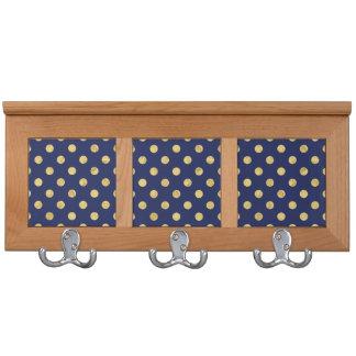 Elegant Gold Foil Polka Dot Pattern - Gold & Blue Coat Racks