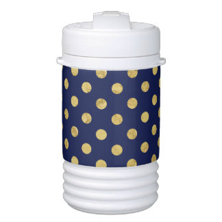 Elegant Gold Foil Polka Dot Pattern - Gold & Blue Cooler