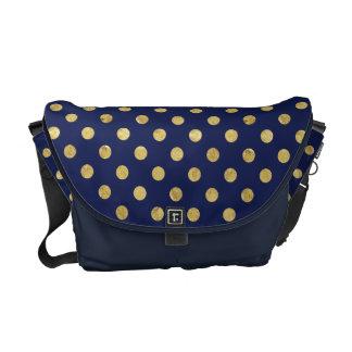 Elegant Gold Foil Polka Dot Pattern - Gold & Blue Courier Bags