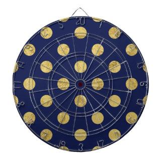 Elegant Gold Foil Polka Dot Pattern - Gold & Blue Dartboard