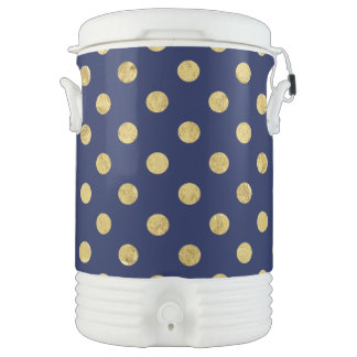 Elegant Gold Foil Polka Dot Pattern - Gold & Blue Drinks Cooler