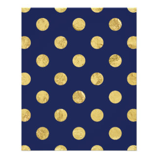 Elegant Gold Foil Polka Dot Pattern - Gold & Blue Flyer