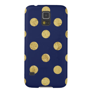 Elegant Gold Foil Polka Dot Pattern - Gold & Blue Galaxy S5 Cover