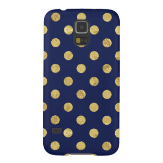 Elegant Gold Foil Polka Dot Pattern - Gold & Blue Galaxy S5 Covers