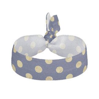 Elegant Gold Foil Polka Dot Pattern - Gold & Blue Hair Tie