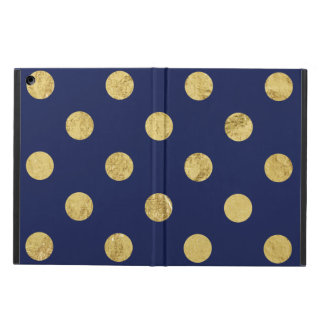 Elegant Gold Foil Polka Dot Pattern - Gold & Blue iPad Air Cover