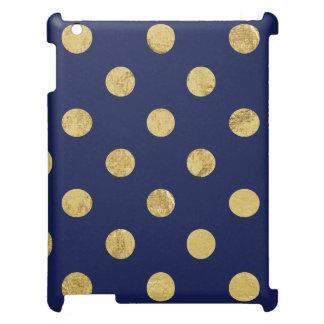Elegant Gold Foil Polka Dot Pattern - Gold & Blue iPad Case