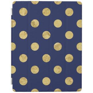 Elegant Gold Foil Polka Dot Pattern - Gold & Blue iPad Cover