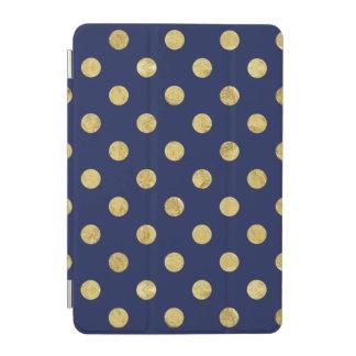 Elegant Gold Foil Polka Dot Pattern - Gold & Blue iPad Mini Cover