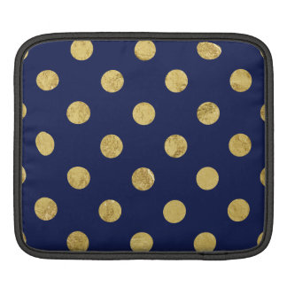 Elegant Gold Foil Polka Dot Pattern - Gold & Blue iPad Sleeve