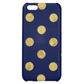 Elegant Gold Foil Polka Dot Pattern - Gold & Blue iPhone 5C Covers