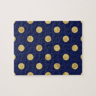 Elegant Gold Foil Polka Dot Pattern - Gold & Blue Jigsaw Puzzle