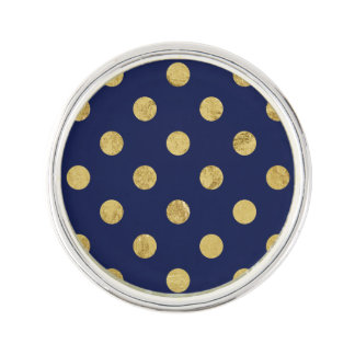 Elegant Gold Foil Polka Dot Pattern - Gold & Blue Lapel Pin