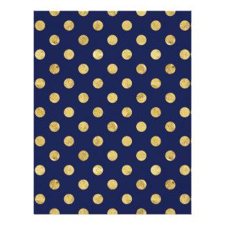 Elegant Gold Foil Polka Dot Pattern - Gold & Blue Letterhead