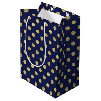 Elegant Gold Foil Polka Dot Pattern - Gold & Blue Medium Gift Bag