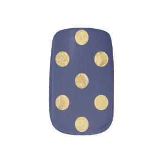 Elegant Gold Foil Polka Dot Pattern - Gold & Blue Minx Nail Art