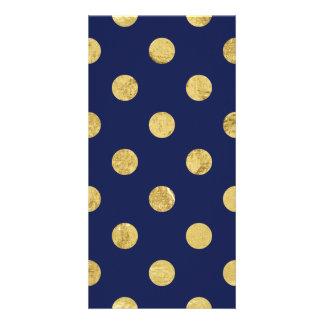 Elegant Gold Foil Polka Dot Pattern - Gold & Blue Photo Card