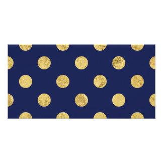 Elegant Gold Foil Polka Dot Pattern - Gold & Blue Photo Card Template