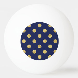 Elegant Gold Foil Polka Dot Pattern - Gold & Blue Ping Pong Ball