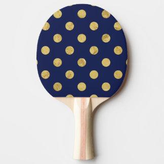 Elegant Gold Foil Polka Dot Pattern - Gold & Blue Ping Pong Paddle