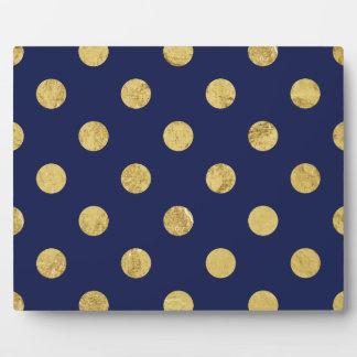 Elegant Gold Foil Polka Dot Pattern - Gold & Blue Plaque