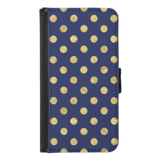 Elegant Gold Foil Polka Dot Pattern - Gold & Blue Samsung Galaxy S5 Wallet Case