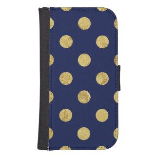 Elegant Gold Foil Polka Dot Pattern - Gold & Blue Samsung S4 Wallet Case