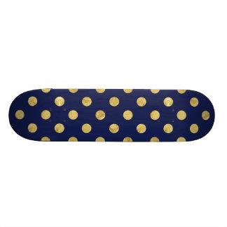 Elegant Gold Foil Polka Dot Pattern - Gold & Blue Skate Decks