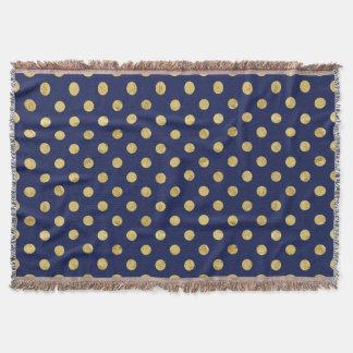 Elegant Gold Foil Polka Dot Pattern - Gold & Blue Throw Blanket