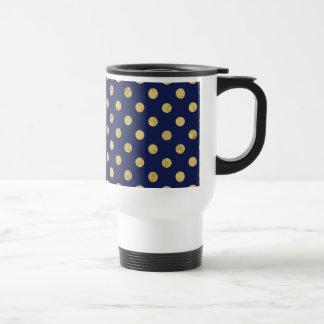 Elegant Gold Foil Polka Dot Pattern - Gold & Blue Travel Mug