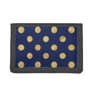 Elegant Gold Foil Polka Dot Pattern - Gold & Blue Tri-fold Wallet
