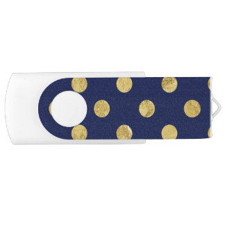 Elegant Gold Foil Polka Dot Pattern - Gold & Blue USB Flash Drive