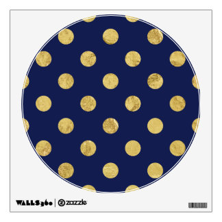 Elegant Gold Foil Polka Dot Pattern - Gold & Blue Wall Sticker