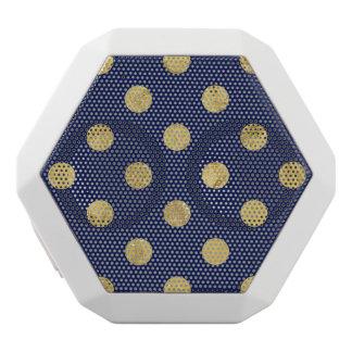 Elegant Gold Foil Polka Dot Pattern - Gold & Blue White Bluetooth Speaker