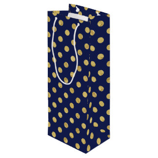 Elegant Gold Foil Polka Dot Pattern - Gold & Blue Wine Gift Bag