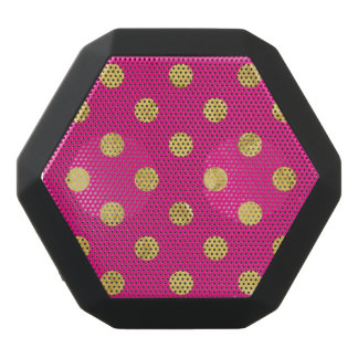 Elegant Gold Foil Polka Dot Pattern - Gold & Pink Black Bluetooth Speaker