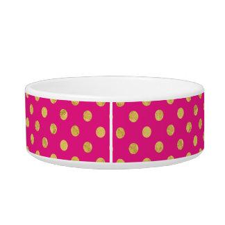 Elegant Gold Foil Polka Dot Pattern - Gold & Pink Bowl