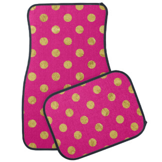 Elegant Gold Foil Polka Dot Pattern - Gold & Pink Car Mat