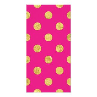 Elegant Gold Foil Polka Dot Pattern - Gold & Pink Card