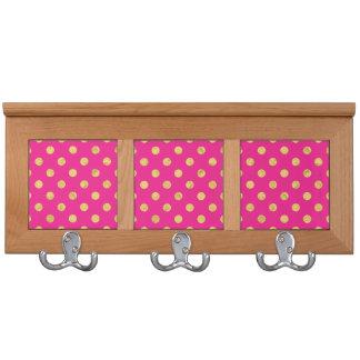 Elegant Gold Foil Polka Dot Pattern - Gold & Pink Coat Racks