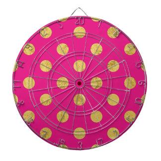Elegant Gold Foil Polka Dot Pattern - Gold & Pink Dartboard