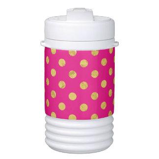 Elegant Gold Foil Polka Dot Pattern - Gold & Pink Drinks Cooler