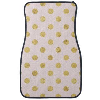 Elegant Gold Foil Polka Dot Pattern - Gold & Pink Floor Mat